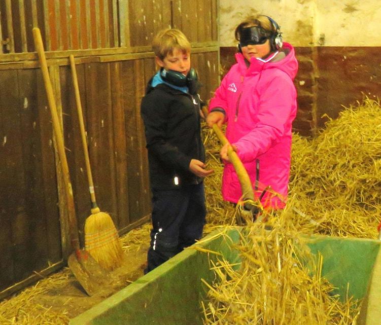 Zwei Kinder misten den Pferdestall aus