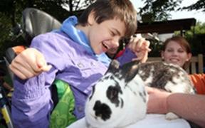 Mädchen freut sich über ein Kaninchen